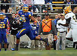 BROOKINGS, SD - SEPTEMBER 14:  Cam Jones #85 from South Dakota State University looks back at Dereck Robinson #58 from Southeastern Louisiana after a catch in the first quarter of their game Saturday night at Coughlin Alumni Stadium in Brookings. (Photo by Dave Eggen/Inertia)
