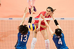 Middle blocker Ekaterina Polyakova of Russia (C) spikes the ball during the FIVB Volleyball World Grand Prix match between Japan vs Russia on 23 July 2017 in Hong Kong, China. Photo by Marcio Rodrigo Machado / Power Sport Images
