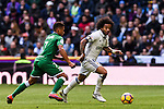 Marcelo Vieira Da Silva of Real Madrid battles for the ball with Darwin Machis of Deportivo Leganes during their La Liga match between Real Madrid and Deportivo Leganes at the Estadio Santiago Bernabéu on 06 November 2016 in Madrid, Spain. Photo by Diego Gonzalez Souto / Power Sport Images