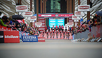 Team Lotto-Belisol off the ramp<br /> <br /> Giro d'Italia 2014<br /> stage 1: TTT