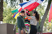 Families and friends gather for the Latinx Cultural Graduation celebration for the class of 2016 at Thorne Hall patio on May 14, 2016.<br /> (Photo by Marc Campos, Occidental College Photographer)