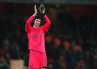 Petr Čech of Arsenal applauds the fans during the Premier League match between Arsenal and Newcastle United at the Emirates Stadium, London, England on 16 December 2017. Photo by Vince  Mignott / PRiME Media Images.