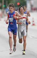 30 JUN 2007 - COPENHAGEN, DEN - Jonathan Brownlee (GBR) leads Joao Silva (POR) - European Junior Mens Triathlon Championships. (PHOTO (C) NIGEL FARROW)