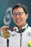 Takayuki Matsumoto (JPN), <br /> AUGUST 21, 2018 - Shooting - Rifle : <br /> Men's 50m Rifle 3 Positions Medal ceremony<br /> at Jakabaring Sport Center Shooting Range <br /> during the 2018 Jakarta Palembang Asian Games <br /> in Palembang, Indonesia. <br /> (Photo by Yohei Osada/AFLO SPORT)