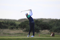 Robin Dawson from Ireland on the 18th tee during Round 3 Singles of the Men's Home Internationals 2018 at Conwy Golf Club, Conwy, Wales on Friday 14th September 2018.<br /> Picture: Thos Caffrey / Golffile<br /> <br /> All photo usage must carry mandatory copyright credit (&copy; Golffile | Thos Caffrey)