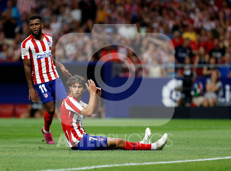 Atletico de Madrid's Joao Felix during La Liga match. Aug 18, 2019. (ALTERPHOTOS/Manu R.B.)Atletico de Madrid's Joao Felix reacts during the Spanish La Liga match between Atletico de Madrid and Getafe CF at Wanda Metropolitano Stadium in Madrid, Spain
