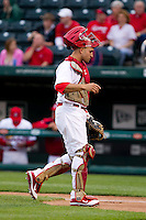 Nick Derba (31) of the Springfield Cardinals walks back to the plate during a game against the Frisco RoughRiders on April 14, 2011 at Hammons Field in Springfield, Missouri.  Photo By David Welker/Four Seam Images.