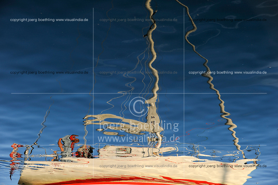 DENMARK, Bornholm , reflection of sailing boat in harbour / Daenemark, Bornholm, Reflektion eines Segelboot im Hafen