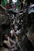 Most Africans in the congo work where the Belgians already explored. Congolese try to eke little bits of gold from the old mine tunnels and cracksin the earth.  Beglians moved very quickly into their colony with heavy machinery to extract gold to finance a war effort during WWII.  These miners work with their hands in dirty, hot conditions.