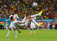 Giancarlo Gonzalez of Costa Rica tries an overhead kick shot on goal