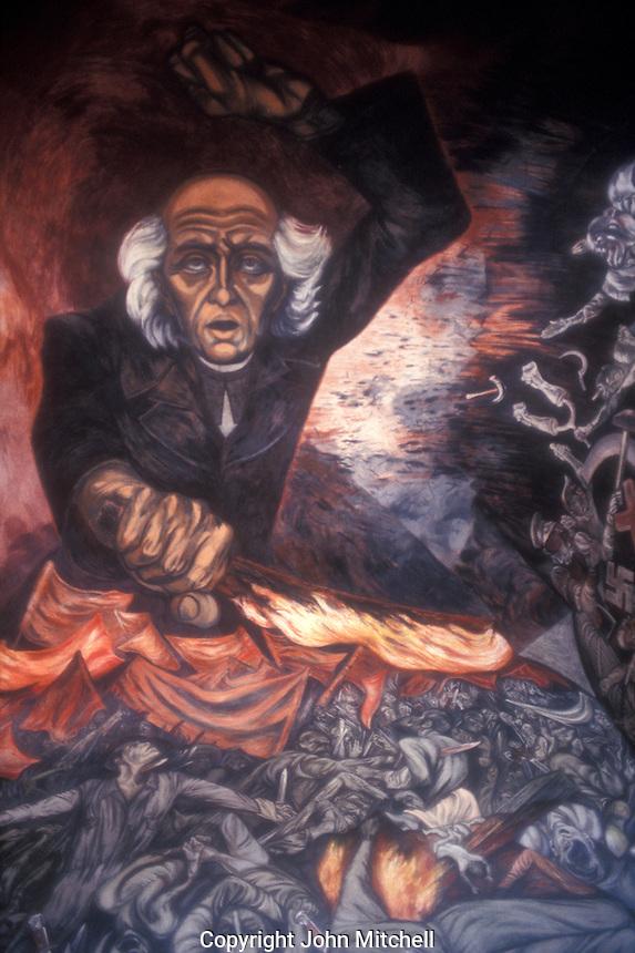 Mural by Jose Clemente Orozco showing Miguel Hidalgo,  Palacio Nacional, Gudalajara, Mexico