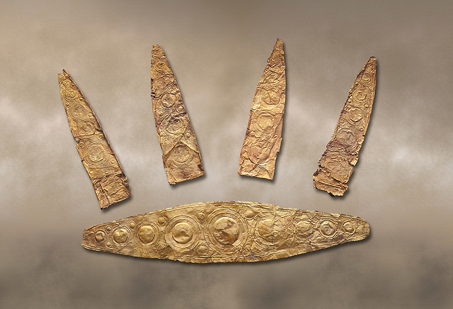 Gold Mycenaean diadem with leaf shaped plates from Grave I, Grave Circle A, Myenae, Greece. National Archaeological Museum Athens. Cat No 184, 185. 16th century BC