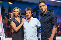 Spanish actress Patricia Montero, actors Pablo Motos and Ernesto Sevilla during the presentation of the new season of the tv show · El Hormiguero · of Antena 3 channel. September 01, 2016. (ALTERPHOTOS/Rodrigo Jimenez) NORTEPHOTO