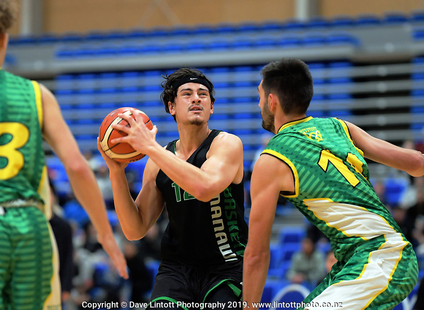 Manawatu captain Jake Mckinlay in action during the National Under-23 Basketball Championship men's final between Hutt Valley Wellington and Manawatu at Te Rauparaha Arena in Porirua, New Zealand on Saturday, 10 August 2019. Photo: Dave Lintott / lintottphoto.co.nz