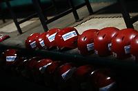 Detalle de cascos Infinitum Telmex de color rojo de las  Aguilas de Mexicali , durante el juego de beisbol de segunda vuelta de la Liga Mexicana del Pacifico. Segundo partido entre Charros de Jalisco vs Naranjeros de Hermosillo. 16 Diciembre 2017.<br /> (Foto: Luis Gutierrez /NortePhoto.com)
