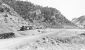 Long double-headed mixed freight - westbound near Monero<br /> D&amp;RGW  Monero Canyon, NM  Taken by Richardson, Robert W. - 2/23/1954