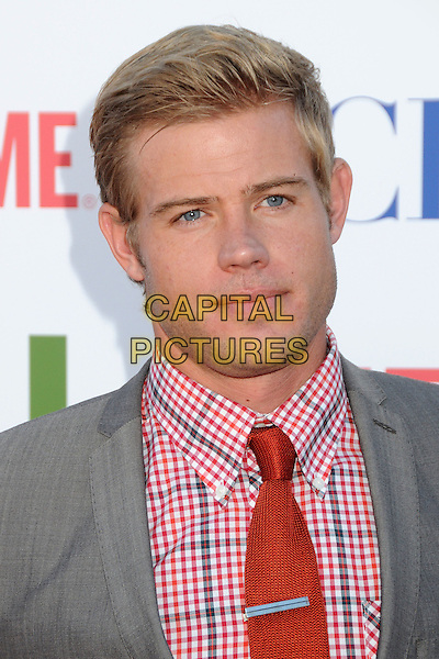 Trevor Donovan.CBS, CW and Showtime Summer 2011 TCA Party held at The Pagoda, Beverly Hills, California, USA..August 3rd, 2011.headshot portrait red grey gray check tie jacket.CAP/ADM/BP.©Byron Purvis/AdMedia/Capital Pictures.