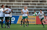 Red Stars forward Ella Masar (3) hugs teammate Marian Dalmy (2) after Dalmy assisted on Masar's second goal.  The FC Gold Pride defeated the Chicago Red Stars 3-2 at Toyota Park in Bridgeview, IL on August 22, 2010