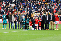 Club dignitaries pose for a picture with team captains prior to the Sky Bet Championship match between Barnsley and Swansea City at Oakwell Stadium, Barnsley, England, UK. Saturday 19 October 2019