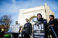 NEW YORK, NY - FEBRUARY 17: Protestors attend a rally in solidarity with the National General Strike on February 17, 2017 in New York City. Across the country protests continue in reaction to the policies of the Trump administration. Photo by VIEWpress/Eduardo MunozAlvarez