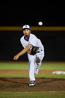 Dunedin Blue Jays relief pitcher Daniel Young delivers a pitch during a game against the St. Lucie Mets on April 20, 2017 at Florida Auto Exchange Stadium in Dunedin, Florida.  Dunedin defeated St. Lucie 6-4.  (Mike Janes/Four Seam Images)