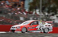 Toll Holden Racing's Garth Tander takes Holden Corner during qualifying for Race Two during Day Three of the Hamilton 400 Aussie V8 Supercars Round Two at Frankton, Hamilton, New Zealand on Sunday, 19 April 2009. Photo: Dave Lintott / lintottphoto.co.nz