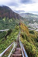 "An aerial view of the  Ko'olau mountain range & H-3 freeway  at dawn from Haiku Stairs (""Stairway to Heaven"") hiking trail in Kaneohe, Oahu"
