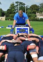 Forwards coach Neal Hatley shouts encouragement as the Bath forwards practise their scrummaging. Bath Rugby training session on August 27, 2013 at Farleigh House in Bath, England. Photo by: Patrick Khachfe/Onside Images