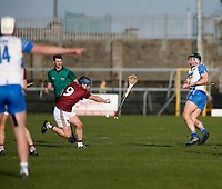 2nd February 2020; TEG Cusack Park, Mullingar, Westmeath, Ireland; Allianz Division 1 Hurling, Westmeath versus Waterford; Eoin Price (Westmeath) throws his hurl to block Jake Dillon (Waterford)