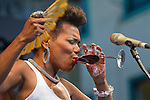 Performance of the singer China Moses on the stage Plaza Trinidad during the 48 Heineken Jazzaldia