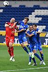Zweikampf, Duell zwischen Toni Leistner (1. FC Koeln), Christoph Baumgartner (Hoffenheim), Florian Grillitsch (Hoffenheim) und Benjamin Huebner (Hoffenheim).<br /> <br /> Sport: Fussball: 1. Bundesliga: Saison 19/20: 28. Spieltag: TSG 1899 Hoffenheim - 1. FC Koeln, 27.05.2020<br /> <br /> Foto: Markus Gilliar/GES/POOL/PIX-Sportfotos.<br /> <br /> Nur für journalistische Zwecke! Only for editorial use!<br /> <br /> Gemäß den Vorgaben der DFL Deutsche Fußball Liga ist es untersagt, in dem Stadion und/oder vom Spiel angefertigte Fotoaufnahmen in Form von Sequenzbildern und/oder videoähnlichen Fotostrecken zu verwerten bzw. verwerten zu lassen. DFL regulations prohibit any use of photographs as image sequences and/or quasi-video.