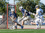 Tustin, CA 04/23/16 - Ryan Winn {La Costa Canyon #12), Kyle Hatterty {La Costa Canyon #24) and Kevin Kodzis (Foothill #34) in action during the non-conference CIF varsity lacrosse game between La Costa Canyon and Foothill at Tustin Union High School.  Foothill defeated La Costa Canyon 10-9 in sudden death overtime.