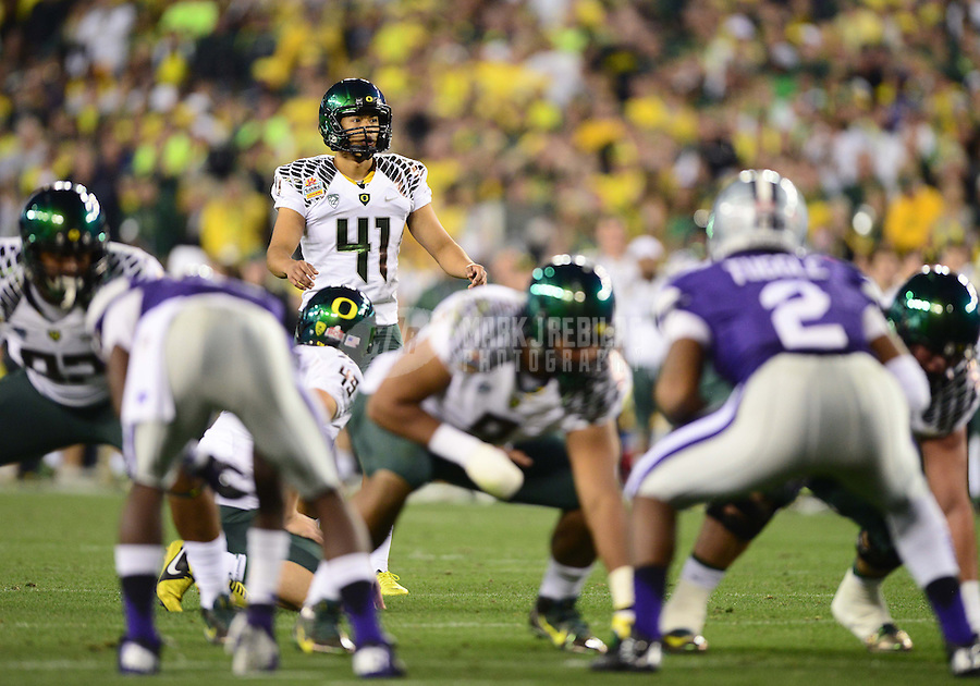 Jan. 3, 2013; Glendale, AZ, USA: Oregon Ducks kicker Alejandro Maldonado (41) against the Kansas State Wildcats during the 2013 Fiesta Bowl at University of Phoenix Stadium. Oregon defeated Kansas State 35-17. Mandatory Credit: Mark J. Rebilas-