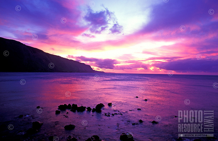 Facing west on the Kalaupapa peninsula under a colorful sunset