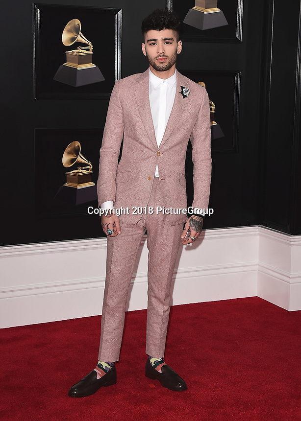 NEW YORK - JANUARY 28:  Zayn Malik at the 60th Annual Grammy Awards at Madison Square Garden on January 28, 2018 in New York City. (Photo by Scott Kirkland/PictureGroup)
