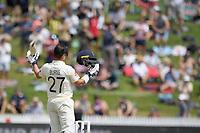 1st December 2019, Hamilton, New Zealand;  Rory Burns celebrates a he scores 100. International test match cricket, New Zealand versus England at Seddon Park, Hamilton, New Zealand. Sunday 1 December 2019.