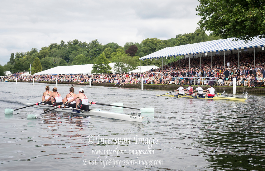 Henley Royal Regatta, Henley on Thames, Oxfordshire, 28 June - 2 July 2017.  Saturday  15:38:01   01/07/2017  [Mandatory Credit/Intersport Images]<br /> <br /> Rowing, Henley Reach, Henley Royal Regatta.<br /> <br /> The Women's Four<br />  Oxford Brookes University and Melbourne University, Australia v  New York Athletic Club, U.S.A.