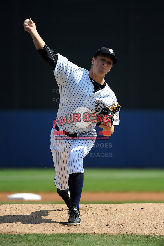 Staten Island Yankees pitcher Andrew Benak (34) during game against the Auburn Doubledays at Richmond County Bank Ballpark at St.George on August 2, 2012 in Staten Island, NY.  Auburn defeated Staten Island 11-3.  Tomasso DeRosa/Four Seam Images