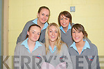 STUDENTS: Leaving cert students in Tarbert Comprehensive School getting set for their English Exam on Wednesday morning. Front l-r: Shauna Foley, Moyvane, Alli Doolan and Eva Scanlon, Listowel. Back l-r: Michelle Kennelly and Rebecca Mulvihill, Moyvane..   Copyright Kerry's Eye 2008