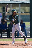Oakland Athletics center fielder JaVon Shelby (13) during a Minor League Spring Training game against the Chicago Cubs at Sloan Park on March 19, 2018 in Mesa, Arizona. (Zachary Lucy/Four Seam Images)
