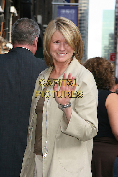 MARTHA STEWART.Arrivals for The David Letterman Show,.New York, 19th September 2005.half length beige cream coat wave waving.Ref: IW.www.capitalpictures.com.sales@capitalpictures.com.©Capital Pictures