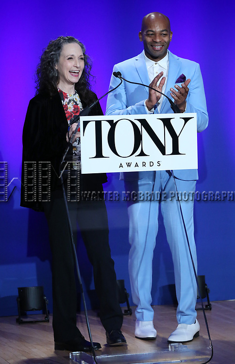 Bebe Neuwirth and Brandon Victor Dixon during The 73rd Annual Tony Awards Nominations Announcement on April 30, 2019 in New York City.