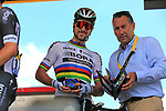 World Champion Peter Sagan (SVK) Bora-Hansgrohe receives his stage medal from Thierry Gouvenau ASO at sign on in Mondorf-les-Bains before the start of Stage 4 of the 104th edition of the Tour de France 2017, running 207.5km from Mondorf-les-Bains, Luxembourg to Vittel, France. 4th July 2017.<br /> Picture: Eoin Clarke | Cyclefile<br /> <br /> <br /> All photos usage must carry mandatory copyright credit (&copy; Cyclefile | Eoin Clarke)