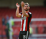 Jake Wright of Sheffield Utd applauds the fans during the Championship match at Bramall Lane, Sheffield. Picture date 26th August 2017. Picture credit should read: Simon Bellis/Sportimage