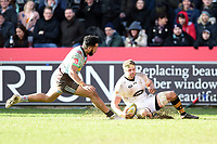 Thomas Young of Wasps scores a try in the second half. Aviva Premiership match, between Harlequins and Wasps on February 11, 2018 at the Twickenham Stoop in London, England. Photo by: Patrick Khachfe / JMP