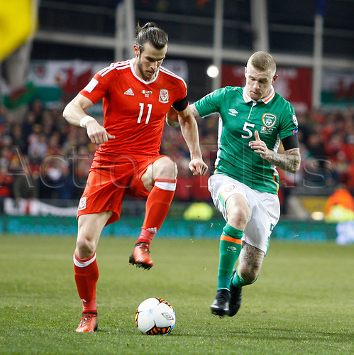 March 24th 2017, Aviva Stadium, Dublin, Republic of Ireland; World Cup 2018 Qualifier mens football, Republic of Ireland versus Wales; Gareth Bale gets to the ball ahead of James McClean