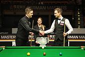 3rd February 2019, Berlin, Germany; Snooker Berlin German Masters in Tempodrom;  Final Kyren Wilson shakes hands with competitor David Gilbert