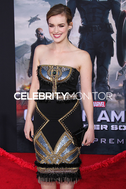 "HOLLYWOOD, LOS ANGELES, CA, USA - MARCH 13: Elizabeth Henstridge at the World Premiere Of Marvel's ""Captain America: The Winter Soldier"" held at the El Capitan Theatre on March 13, 2014 in Hollywood, Los Angeles, California, United States. (Photo by Xavier Collin/Celebrity Monitor)"