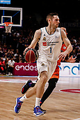 25th March 2018, Madrid, Spain; Endesa Basketball League, Real Madrid versus Valencia; Fabien Causeur (Real Madrid Baloncesto) brings the ball foward around the outside