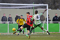 Joseph Grant of Bracknell Town shoots  during Waltham Abbey vs Bracknell Town, Bostik League South Central Division Football at Capershotts on 9th February 2019